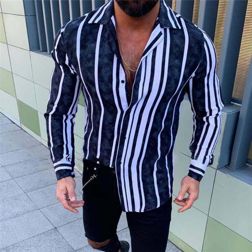 Fashion Lapel Striped Long-Sleeved Shirt