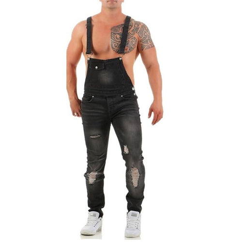 Men's Ripped Denim Strap Long Jumpsuit