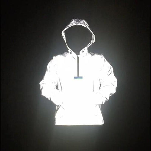 Hip Hop Reflective Raglan Sleeve Jacket