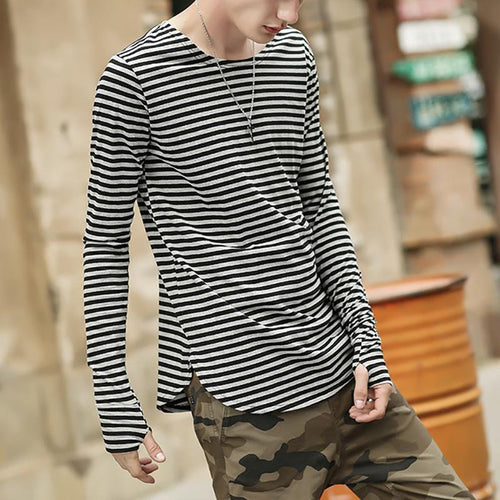 Street Fashion Cotton Stripe Bottoming T-Shirt