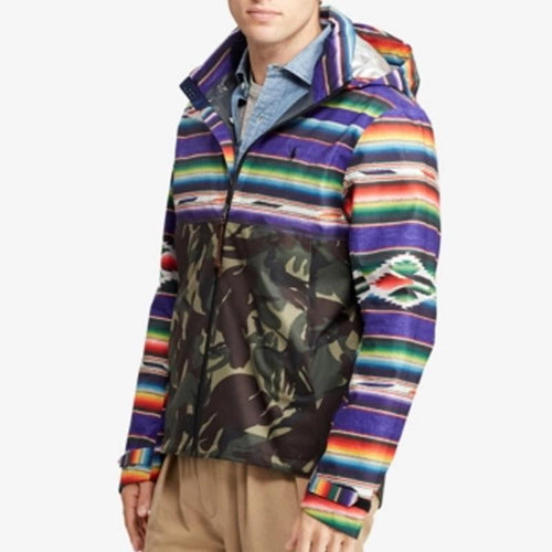 Trendy Camouflage Colorblock Hooded Zipper Jacket