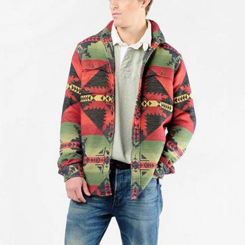 Retro Color Patch Pocket Long Sleeve Jacket