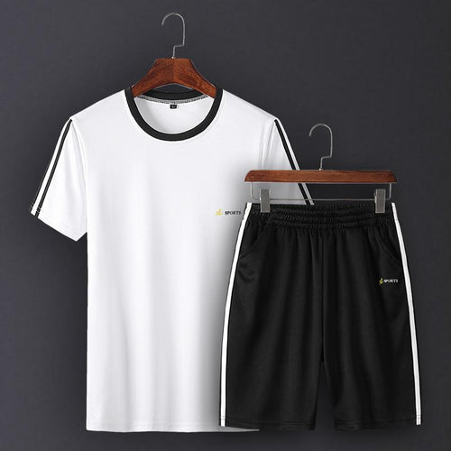 Summer Men's Round Neck Striped Short-Sleeved Large Size Quick-Drying Running Leisure Sports Suit