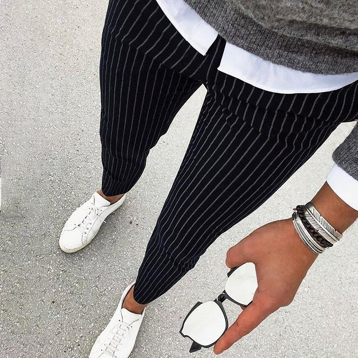 Men's Fashion Solid Color Striped Slim Pants