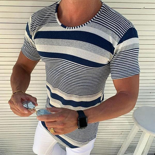 Minimalist Men's Fashion Colorblock Striped Short Sleeve T-Shirt