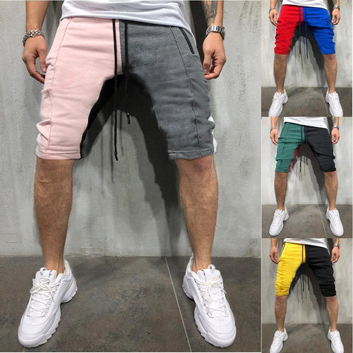 Men's Casual Stitching Color Personality Sports Slim Shorts