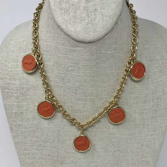 Reversible Intaglio Necklace: Coral/Ivory