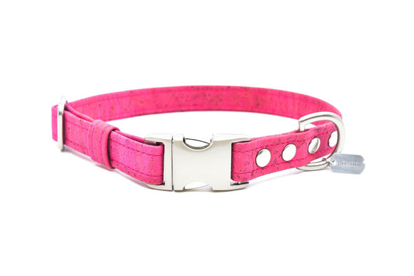 Fuchsia Cork Dog Collar