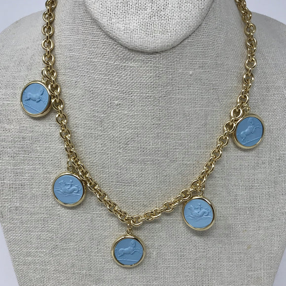 Reversible Intaglio Necklace: Light Blue/Ivory