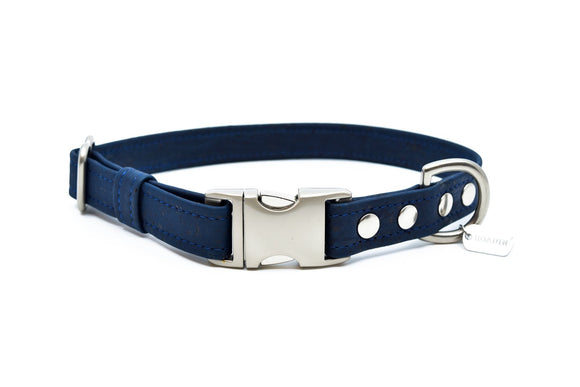 Navy Cork Dog Collar