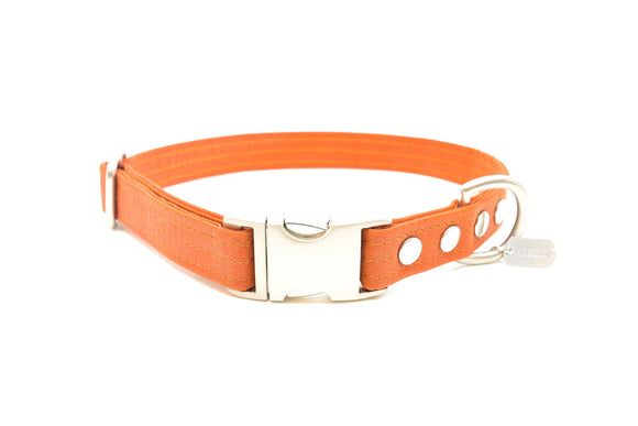 Orange Waxed Canvas Dog Collar