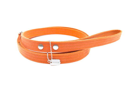 Orange Waxed Canvas Dog Leash