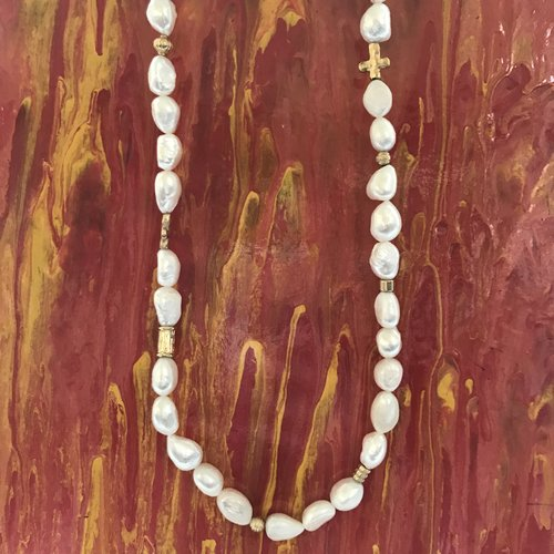 Melissa - Pearl and Gold Beaded Necklace