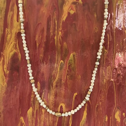 Porcher - Pearl and Gold Beaded Necklace