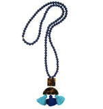 Lapis & Tortoise and Tassel Pendant Necklace