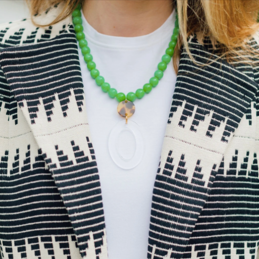 Green Jade & Geometric Pendant Necklace