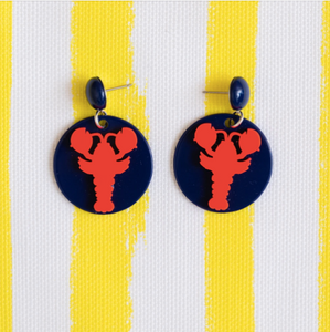 Navy Circle & Red Lobster Earrings