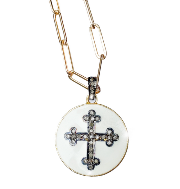White Enamel Diamond Cross Necklace