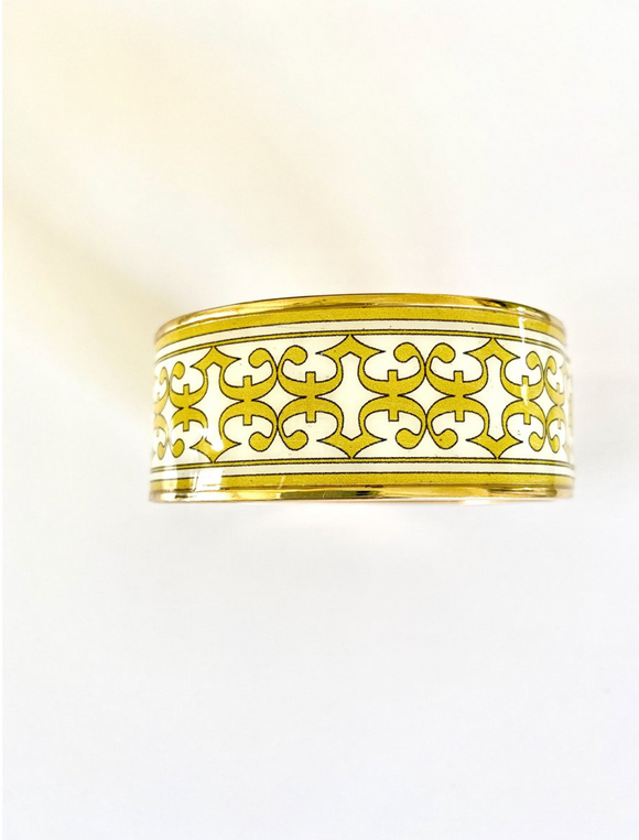 Enamel Bangle Bracelet - White and Gold