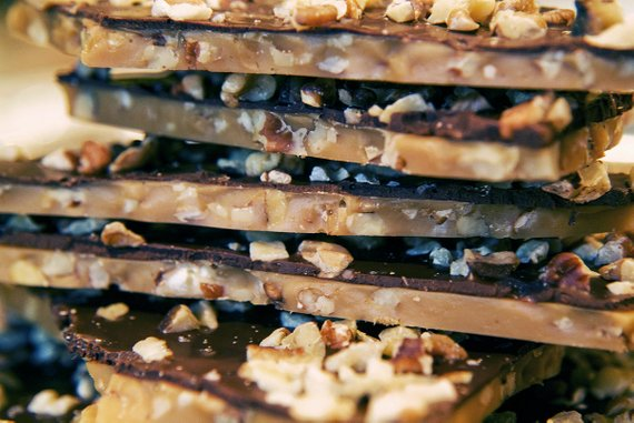 OMG Toffee, English Toffee, Butter Crunch Dark Chocolate Bark 4 oz.