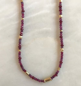 Pink Agate and Gold Beaded Necklace