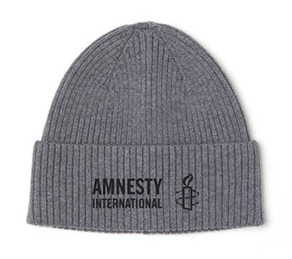 Grey Knit Cap with Amnesty International USA Logo