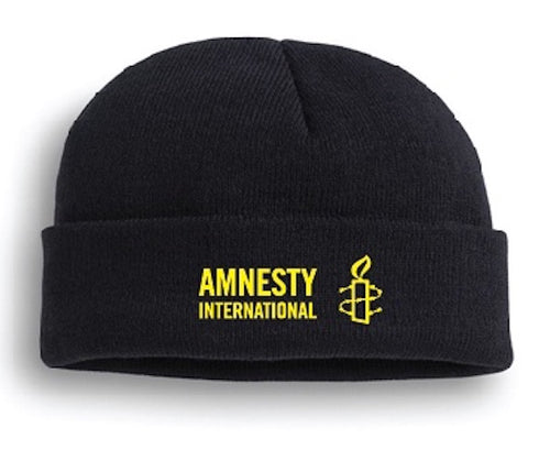 Black Knit Cap with Amnesty International USA Logo