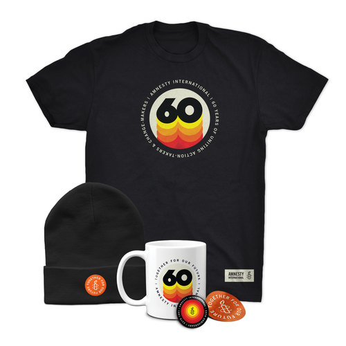 60 Years Package #4- Shirt, Beanie, Mug, Button and Sticker