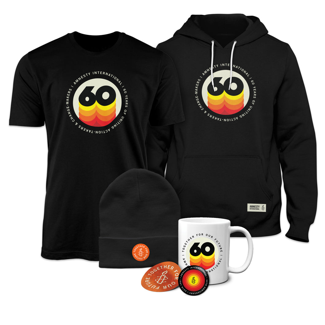 60 Years Limited Edition Deluxe Package- Hoodie, T-Shirt, Beanie, Mug, Button and Sticker