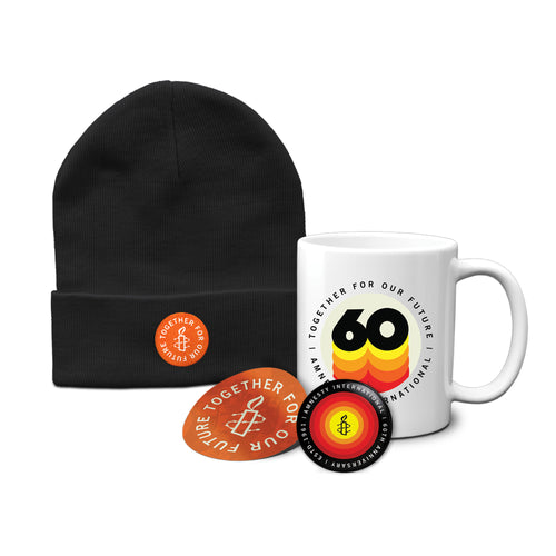 60 Years Package #2- Beanie, Mug, Button and Sticker