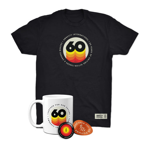 60 Years Package #3- Shirt, Mug, Button, Sticker