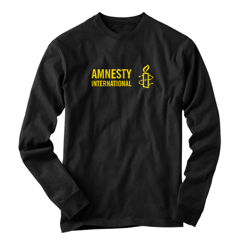 Long Sleeve Black Shirt with Amnesty International USA Logo