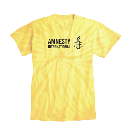 Yellow Tie Dye Shirt with Amnesty International USA Logo