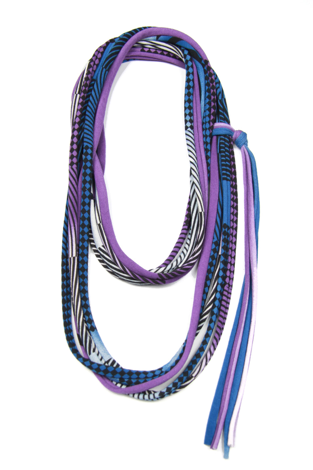 Purple & Blue Skinny Scarf Necklace