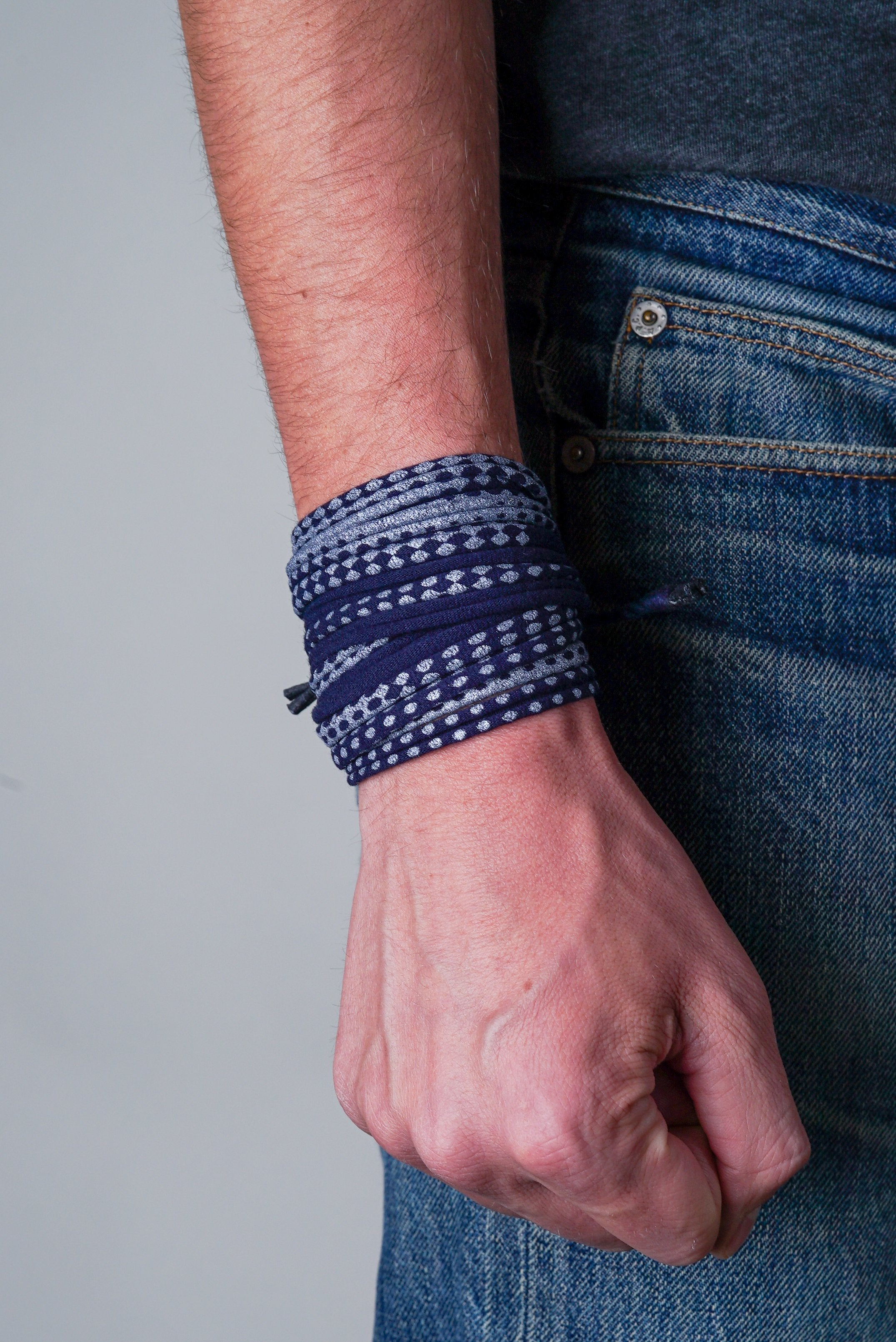 Navy Blue and Silver Wrap Bracelet