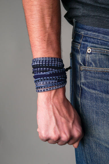 Navy Blue with Bluish Silver Wrap Bracelet