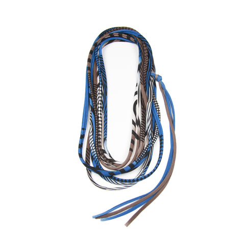 Brown & Blue Skinny Scarf Necklace