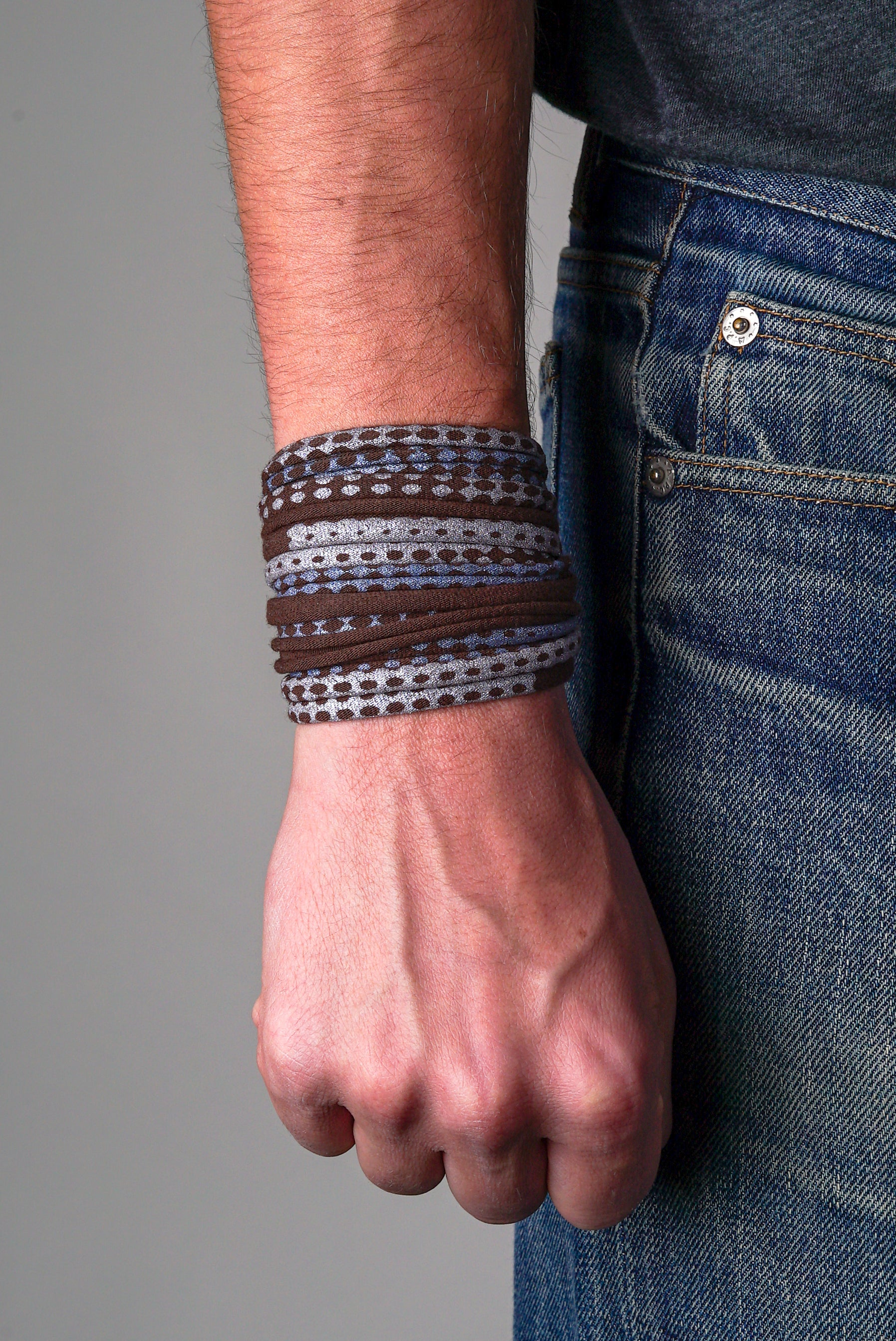 Brown and Bluish Silver Wrap Bracelet