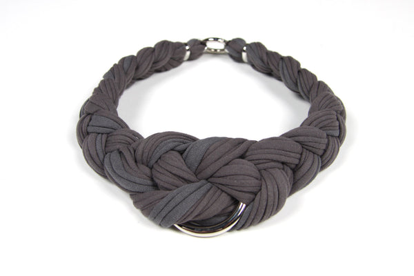 Gray Braided Necklace