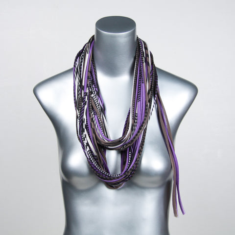 Purple Brown Black Infinity Scarf