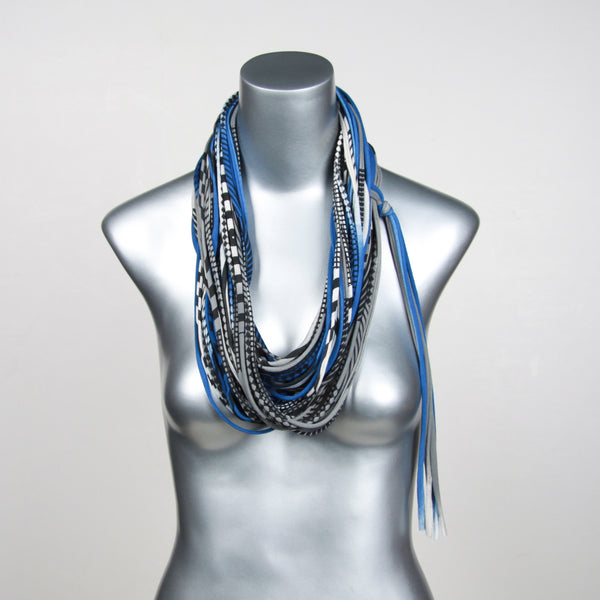 Blue Gray Infinity Scarf