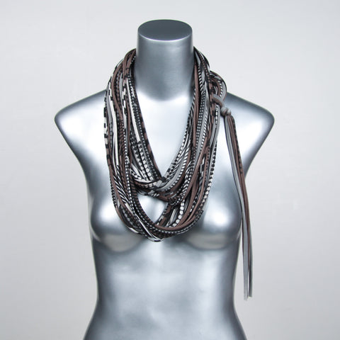Gray Brown Infinity Scarf