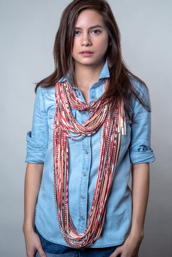 Living Coral Chunky Infinity Scarf Necklush