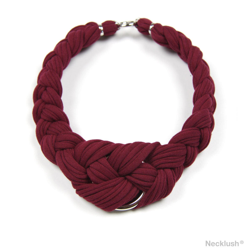 Maroon Braided Necklace