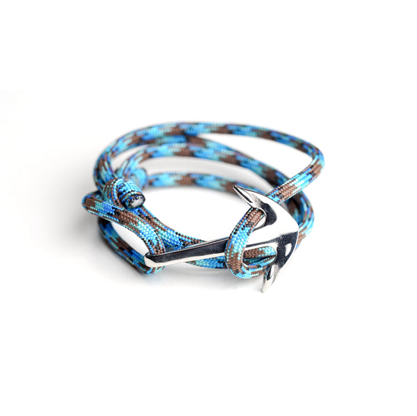 Nautical Paracord Bracelet Blue w/ Stainless Steel Anchor