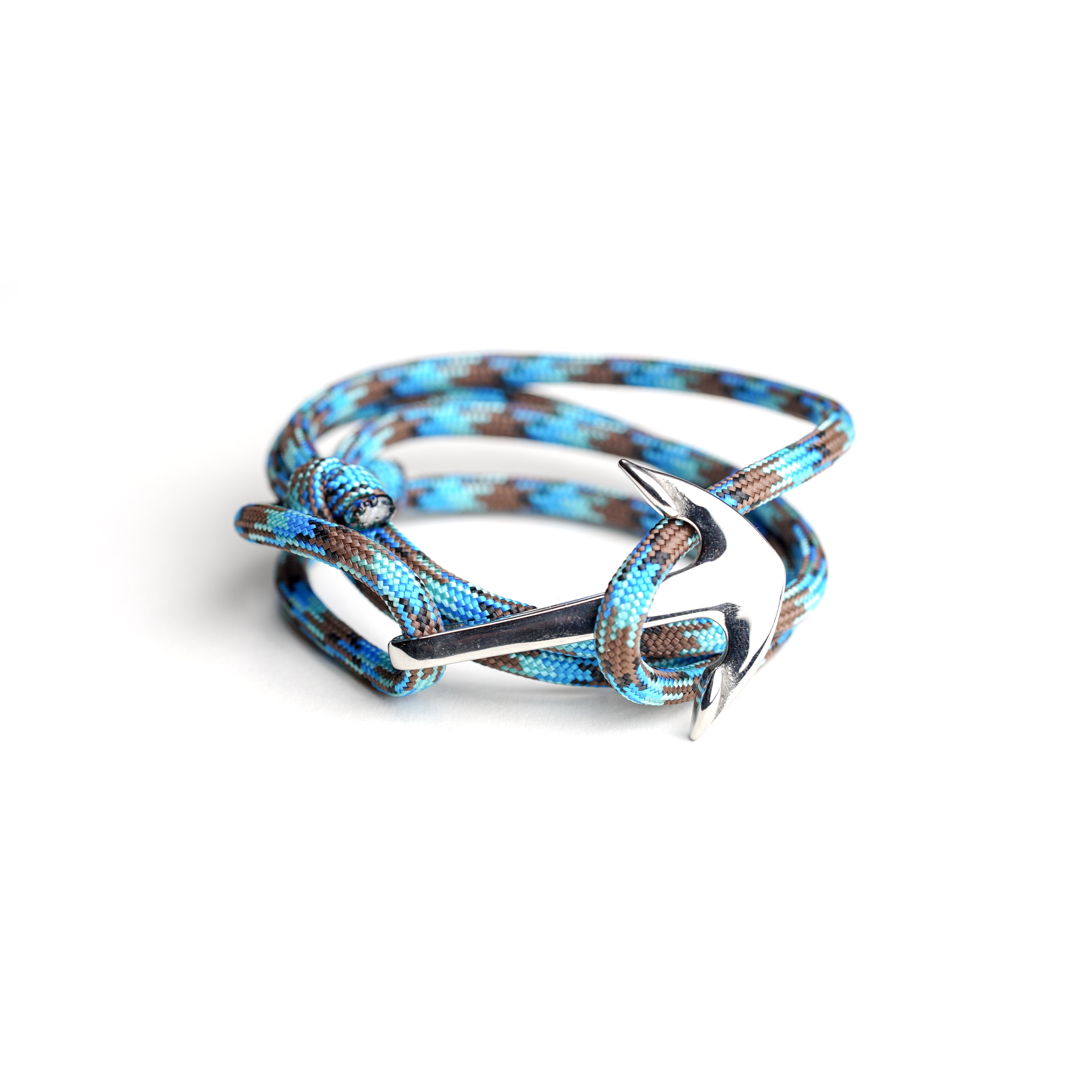 Necklush Paracord Bracelet / Blue w/ Stainless Steel Nautical Anchor / Unisex