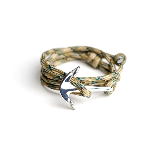 Nautical Paracord Bracelet Camo w/ Stainless Steel Anchor