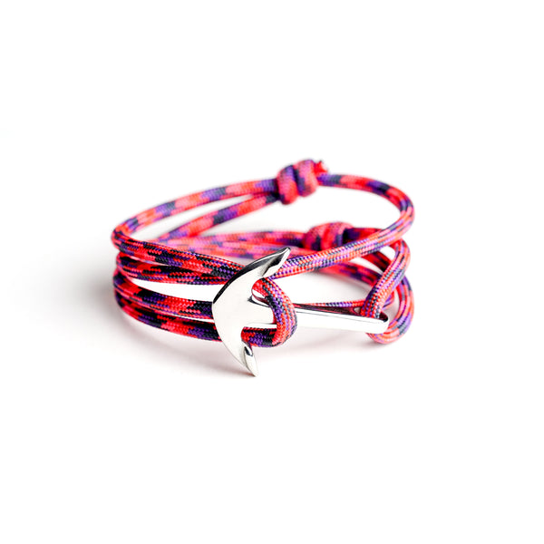 Nautical Paracord Bracelet Red w/ Stainless Steel Anchor