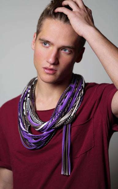purple brown scarf necklush
