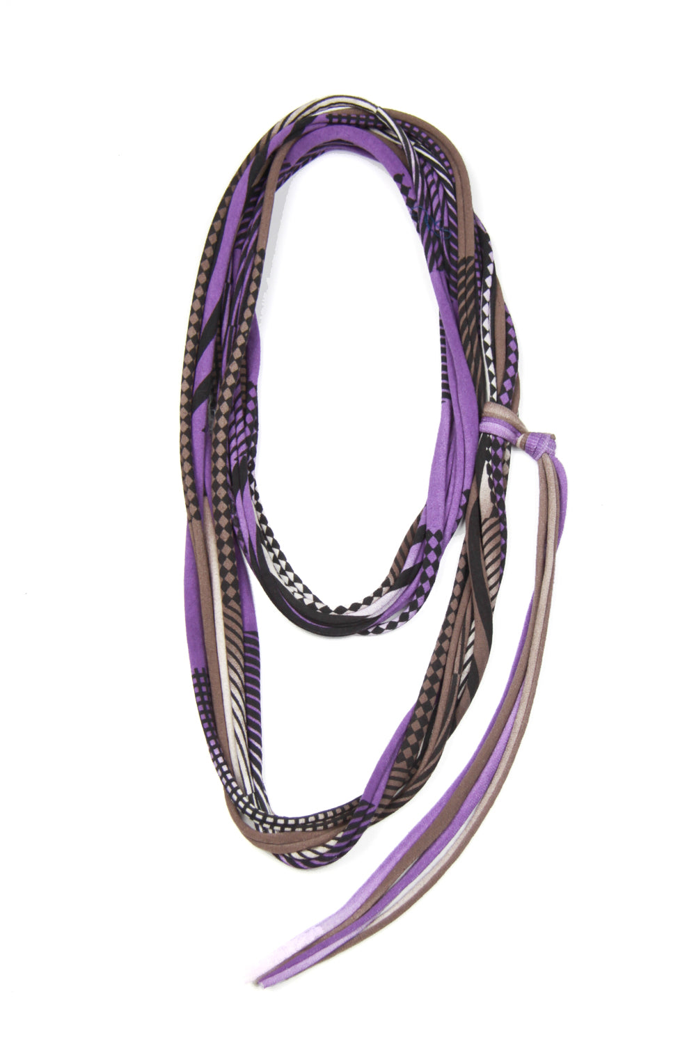 Purple & Brown Skinny Scarf Necklace